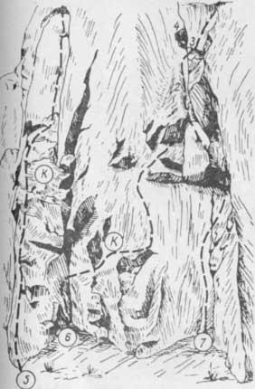 Змеиные скалы, маршруты № 5, 6, 7
