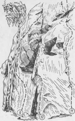 Змеиные скалы, маршруты № 9, 10, 11